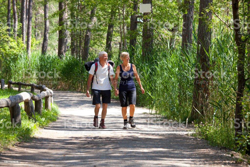 Happy senior couple walking royalty-free stock photo