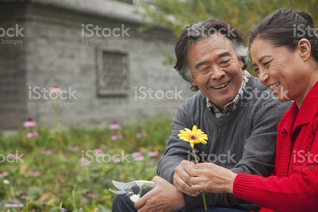 Happy Senior couple with flower royalty-free stock photo