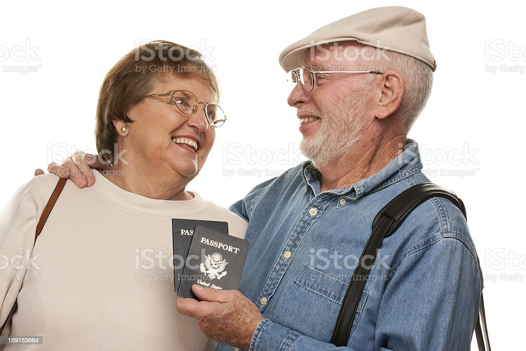 Happy Senior Couple with Passports and Bags on White royalty-free stock photo