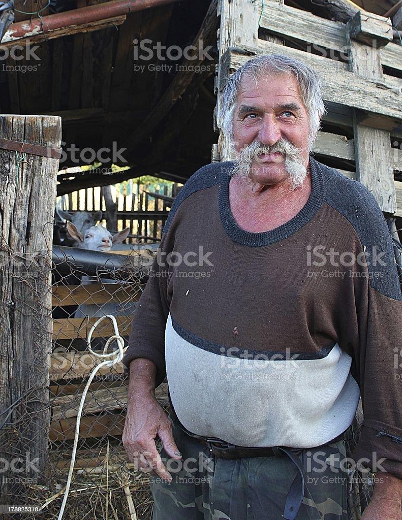 Happy senior farmer standing in a farmyard stock photo