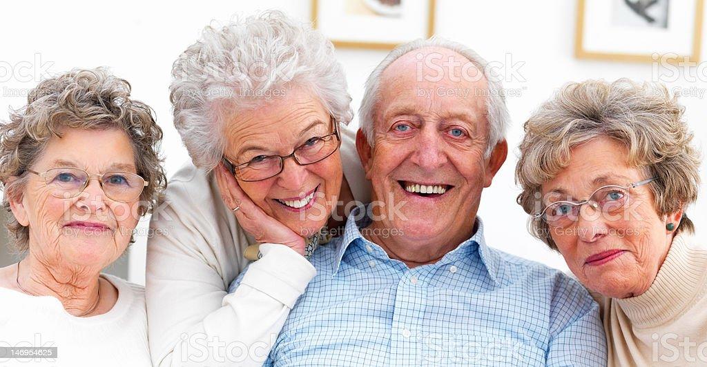 Happy senior man and women royalty-free stock photo