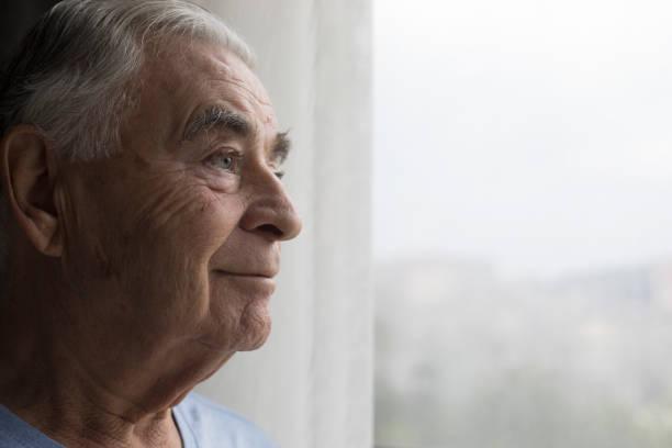 happy senior man - old men window imagens e fotografias de stock