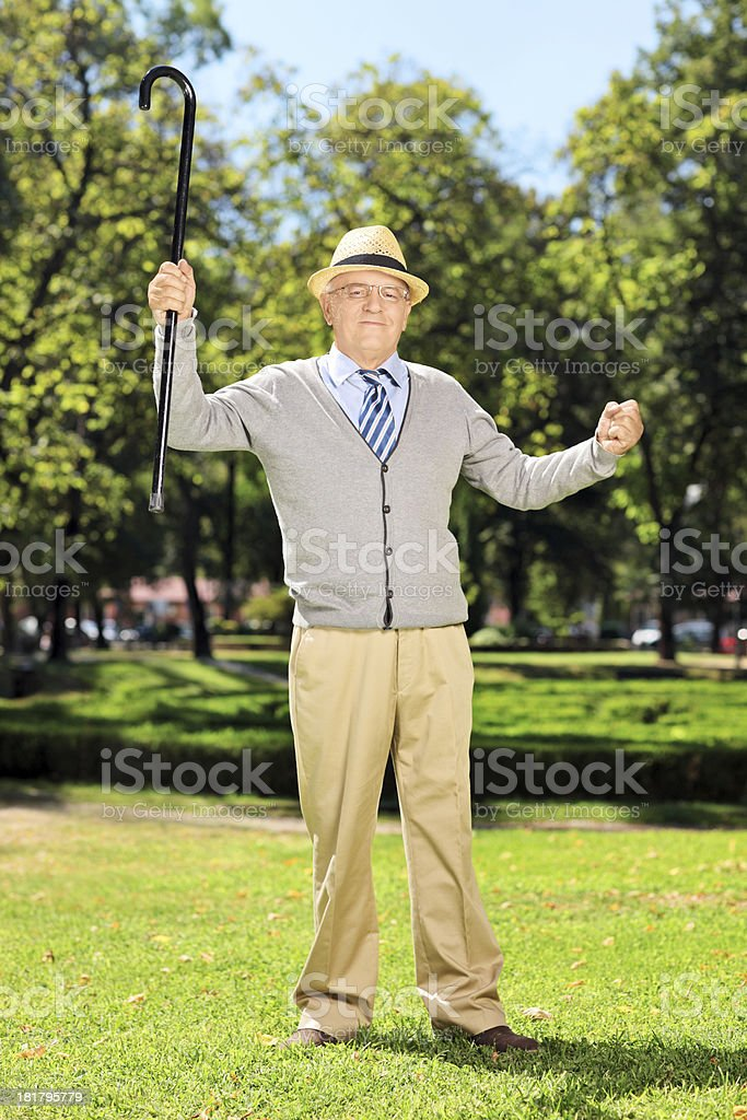 Happy senior man standing and gesturing in park royalty-free stock photo