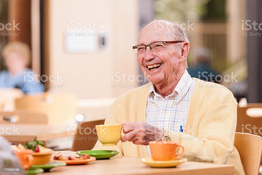 Happy Senior Man with Coffee royalty-free stock photo