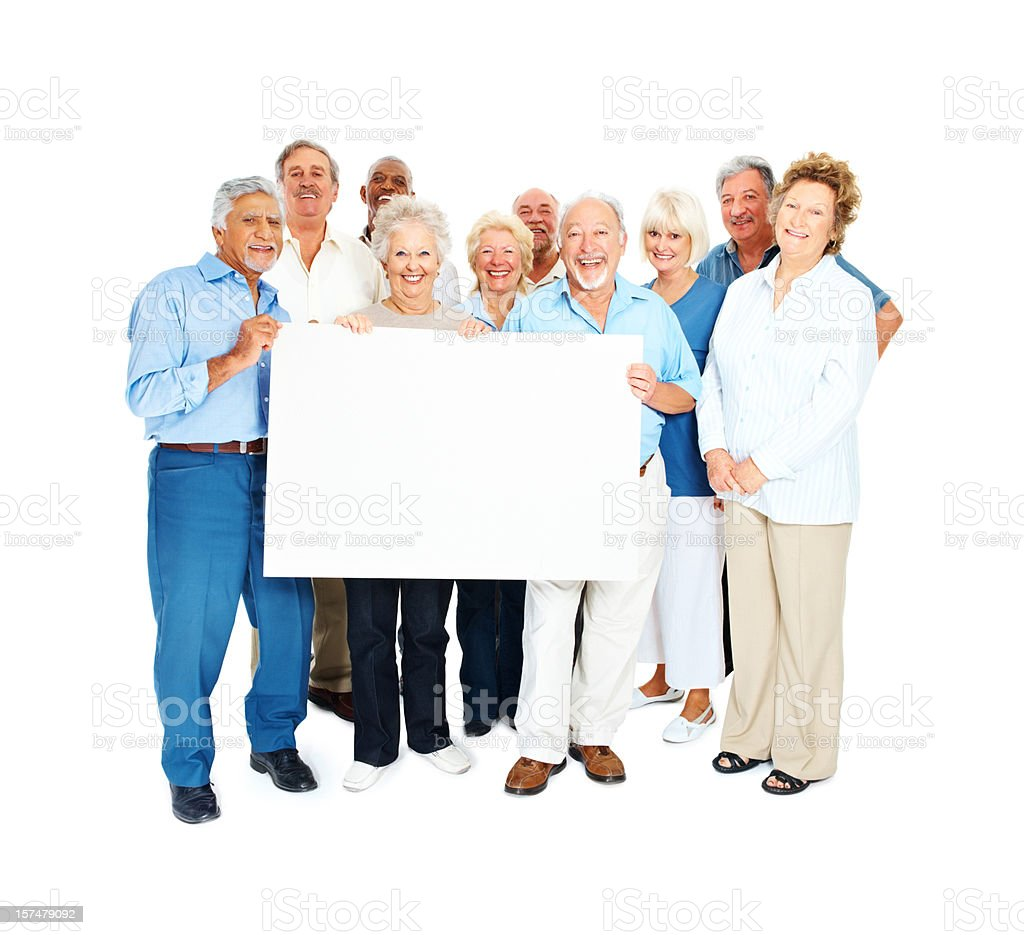 Happy senior men and women holding placard stock photo