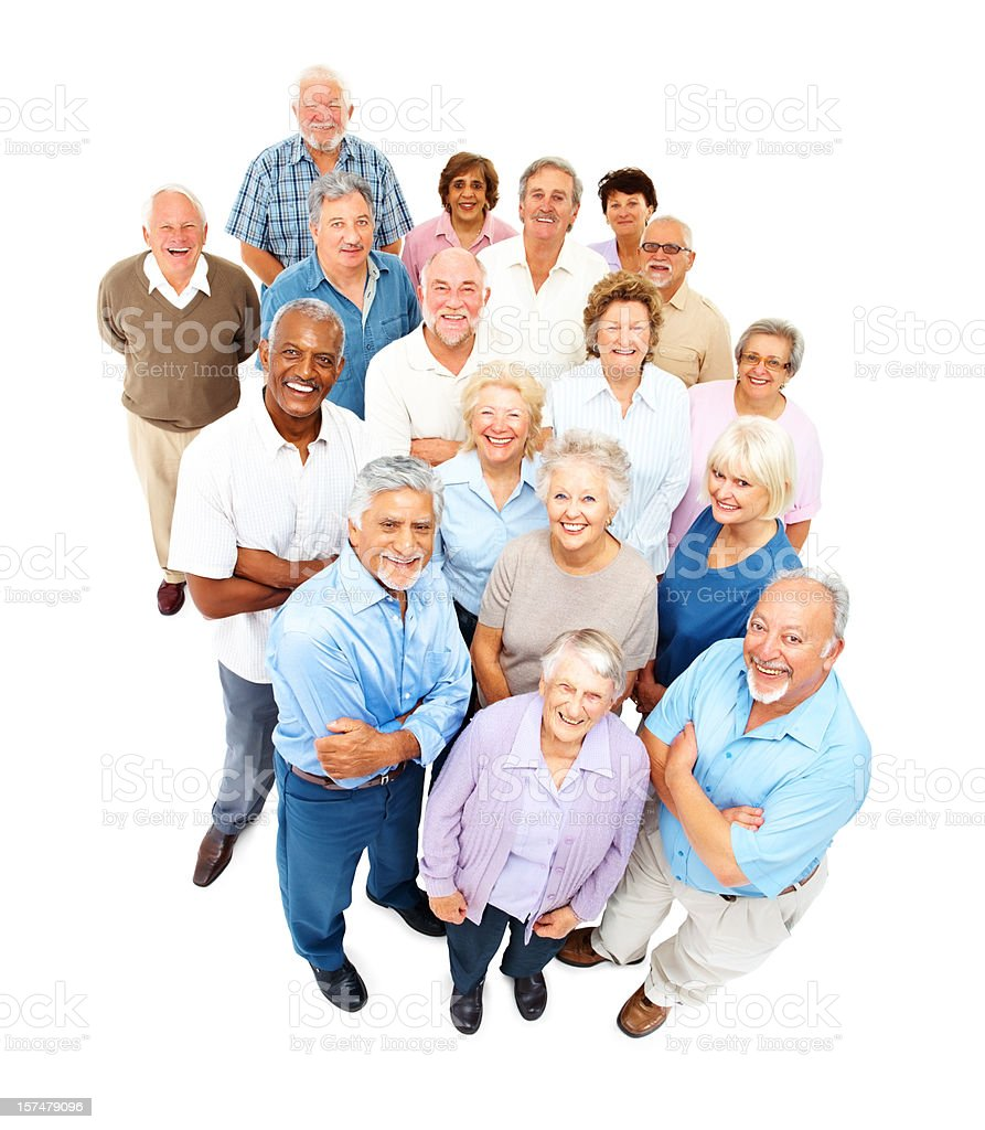Happy senior men and women standing together stock photo