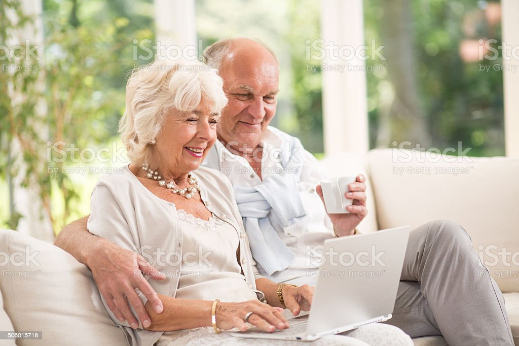 Happy senior pair stock photo