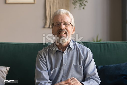 Happy senior retired man blogger looking at camera recording vlog, smiling old elder grandfather talking to webcam make distance online call or video chat sit on sofa at home, webcamera view portrait
