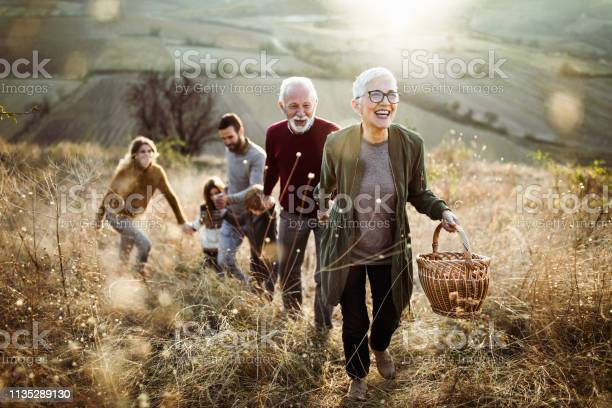 Happy Senior Woman Leading Her Family To Perfect Picnic Place On The Hill Stock Photo - Download Image Now