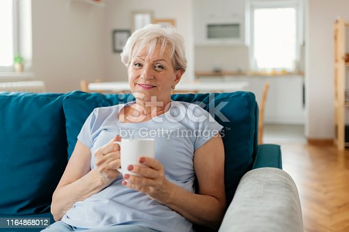 1044149594 istock photo Happy Senior Woman on Couch 1164868012