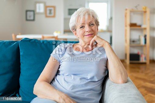 1044149594 istock photo Happy Senior Woman on Couch 1164868038