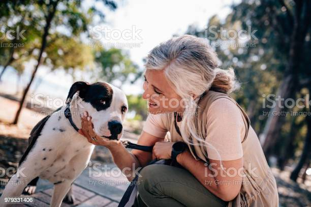 Happy senior woman petting dog during morning walk in nature picture id979331406?b=1&k=6&m=979331406&s=612x612&h=yahoqjfz0dkq6pvyv4m53wfjajaxswjfu4n5v63jtwo=