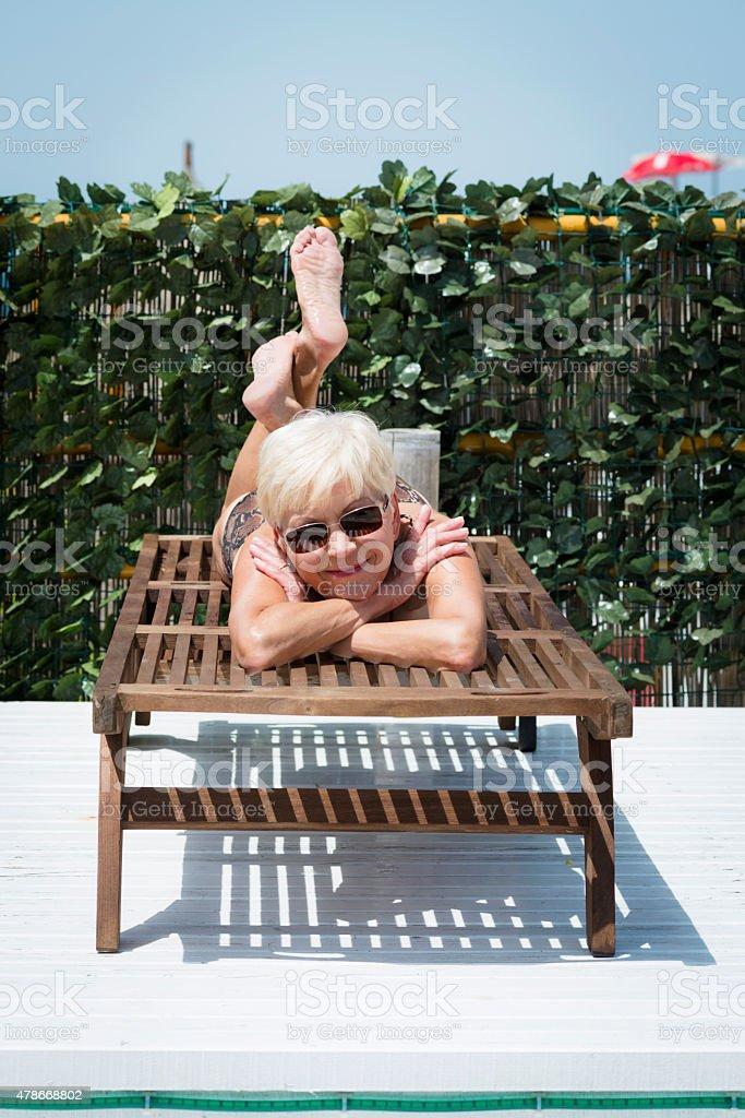 Pretty Senior Woman Sunbathing On Summerterrace Portorose
