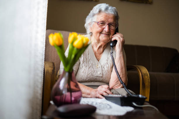 happy senior woman talking on the phone in living room. - idosos imagens e fotografias de stock