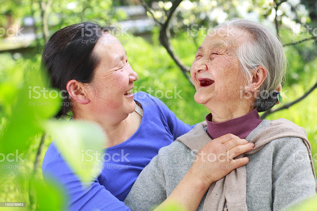 happy senior woman with her daughter royalty-free stock photo