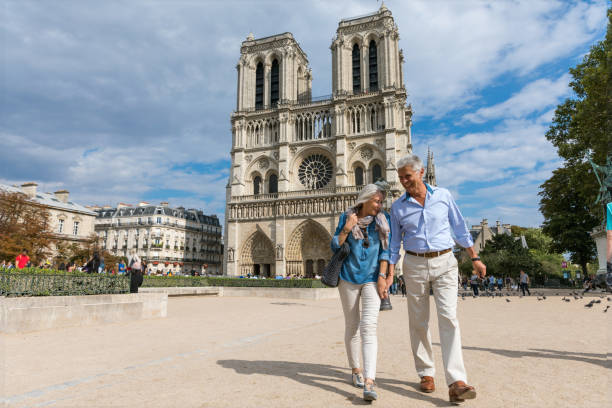 happy seniors in paris, having a wonderful vacation - europe travel stock photos and pictures