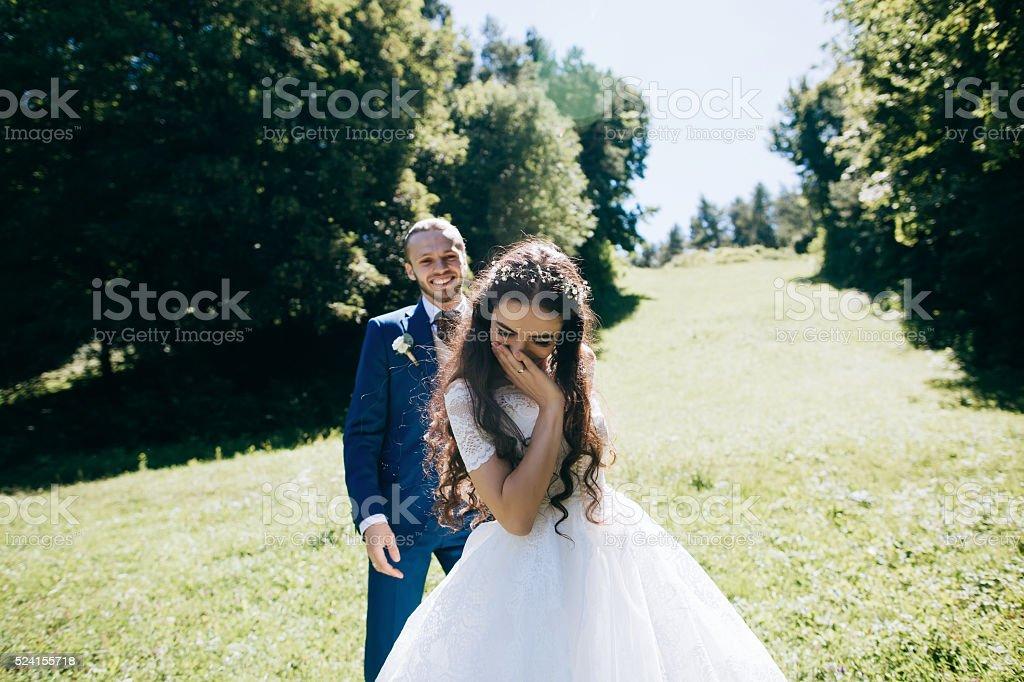 Happy sensual Bride and groom at wedding Day stock photo