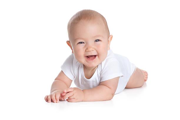 feliz de sete meses bebê no fundo branco - olhos azuis - fotografias e filmes do acervo