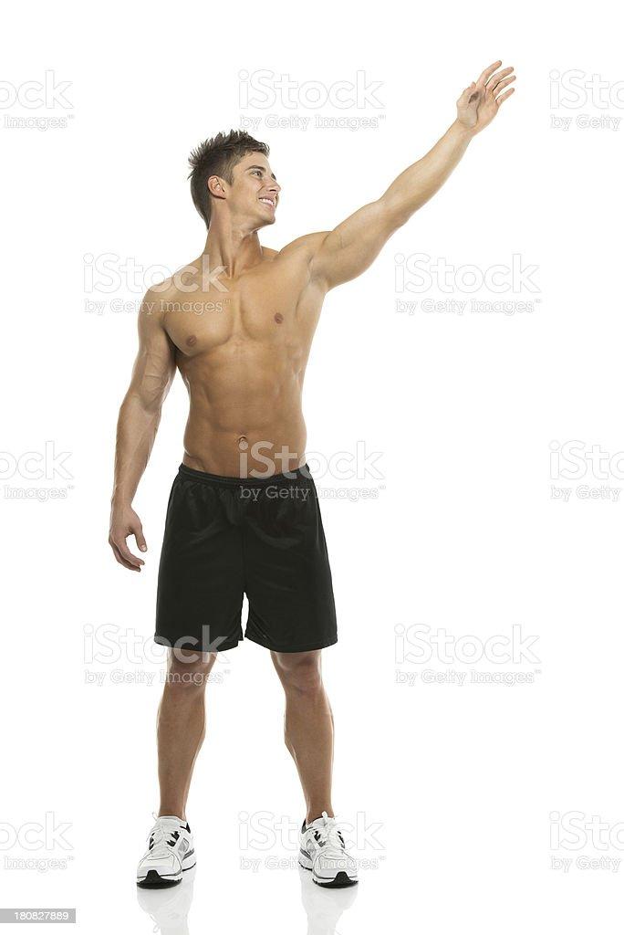 Happy Nackter Oberkörper Mann Seine Hand Winken Stock-Fotografie und ...