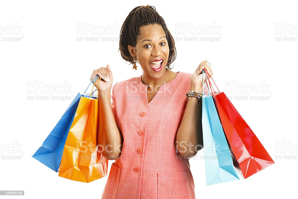 Happy Shopper with Bargains royalty-free stock photo