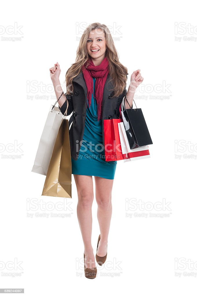 Feliz mujer compras foto de stock libre de derechos
