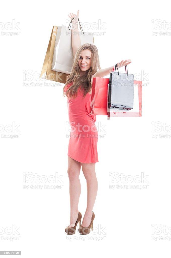 Happy shopping woman expressing joy royalty-free stock photo