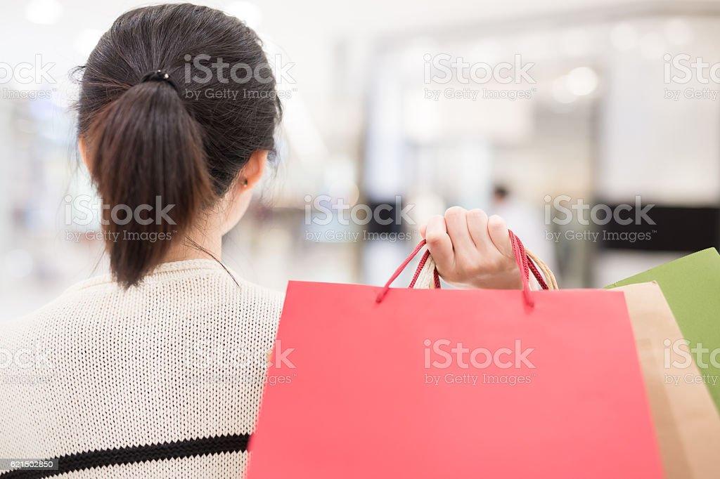 happy shopping woman take bags photo libre de droits