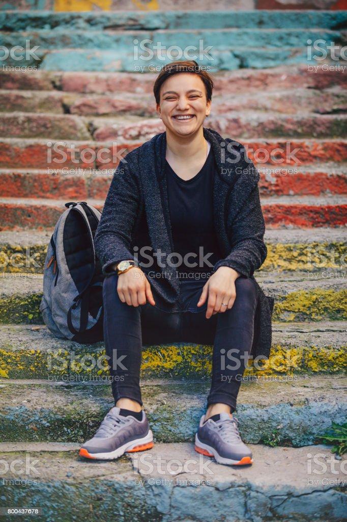 Happy short hair girl enjoying outdoor stock photo