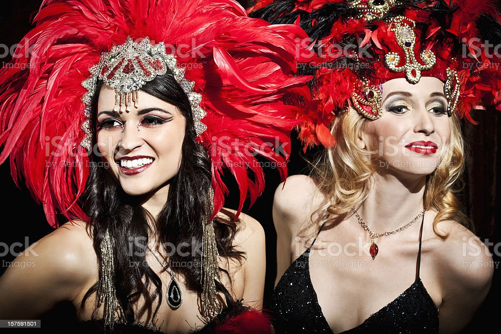 Happy Showgirls Performing on Stage stock photo