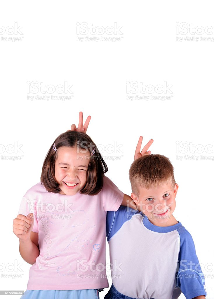 Happy sibling stock photo