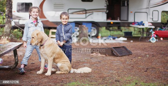 istock Happy Siblings Going Camping 499510126