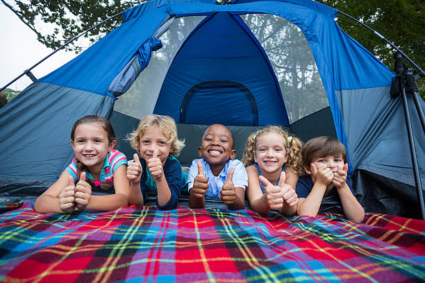 happy siblings on a camping trip - camping stock pictures, royalty-free photos & images