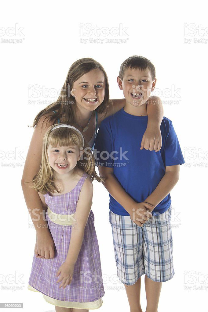 Happy Siblings on White Background royalty-free stock photo