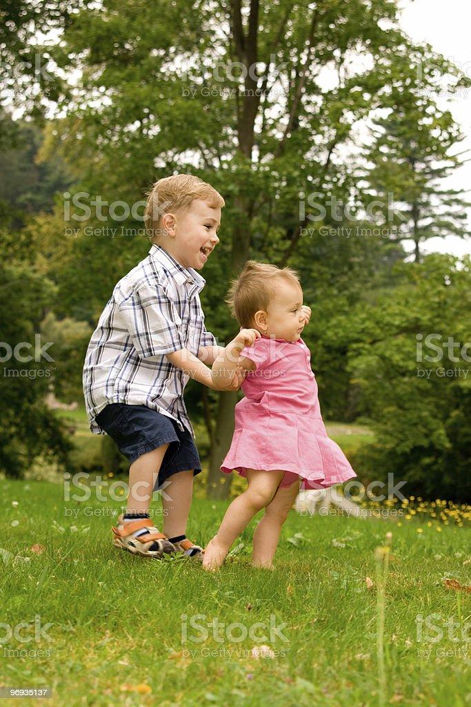 Happy siblings royalty-free stock photo
