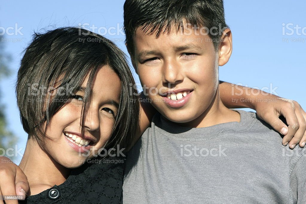 Happy Siblings Together royalty-free stock photo