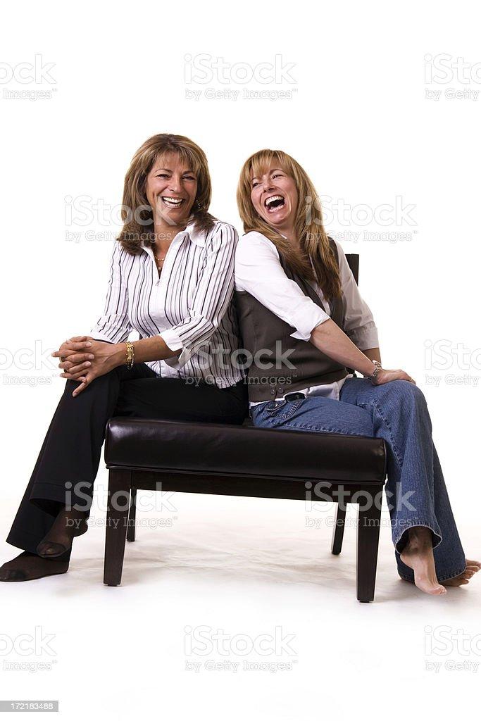 Happy Sitting Women royalty-free stock photo