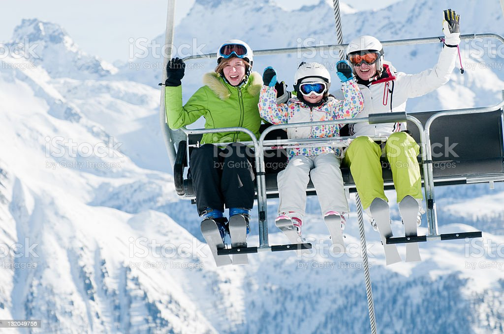 happy ski holiday stock photo