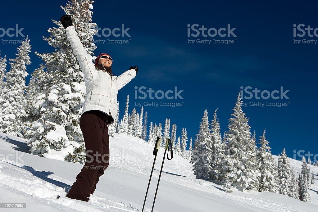 Happy skier enjoying Powder days royalty-free stock photo