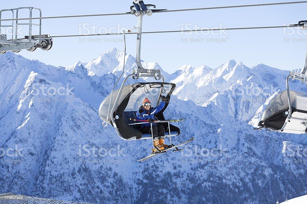 Happy skier stock photo