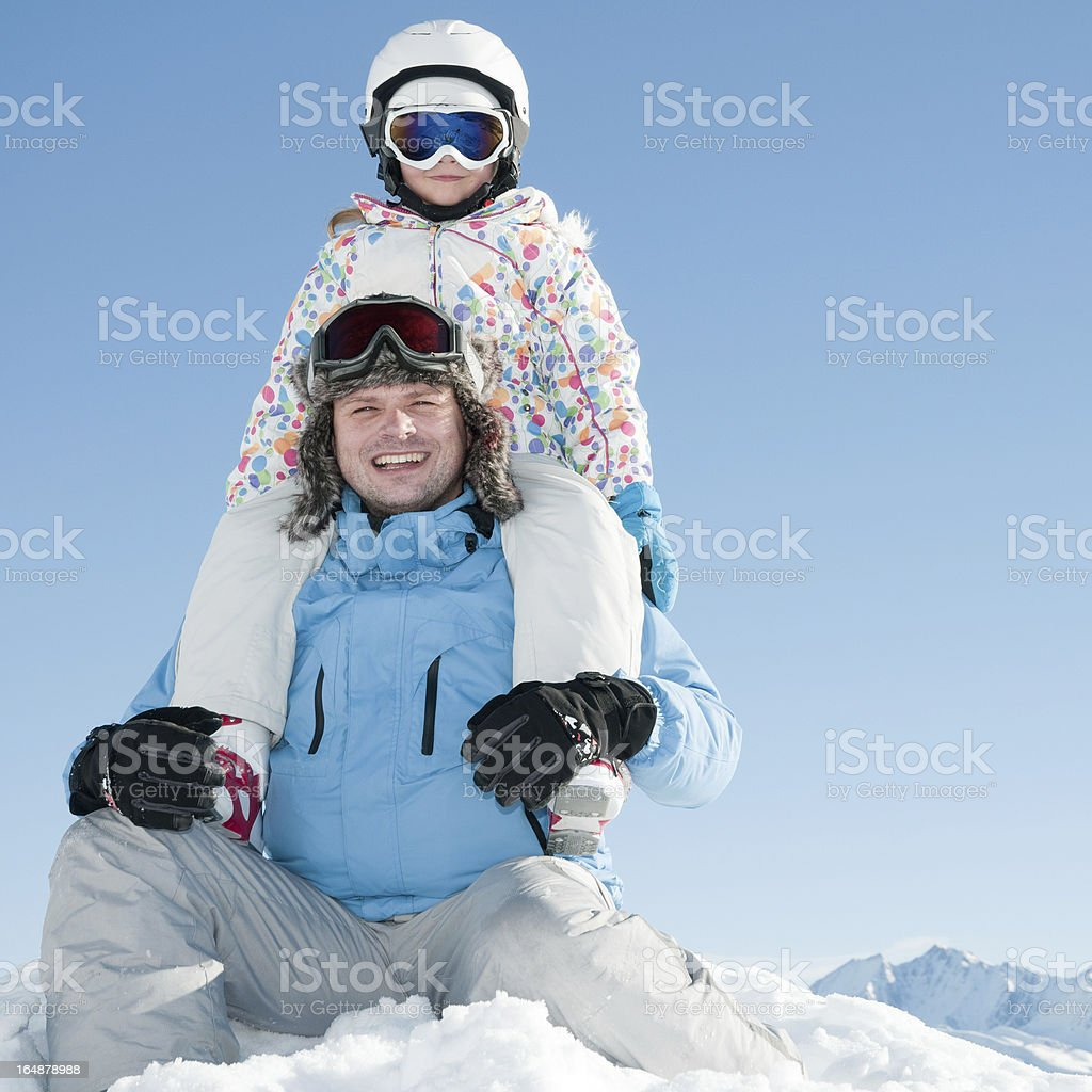 Happy skiers royalty-free stock photo