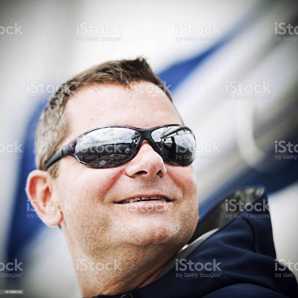 Happy skipper on sailing ship royalty-free stock photo