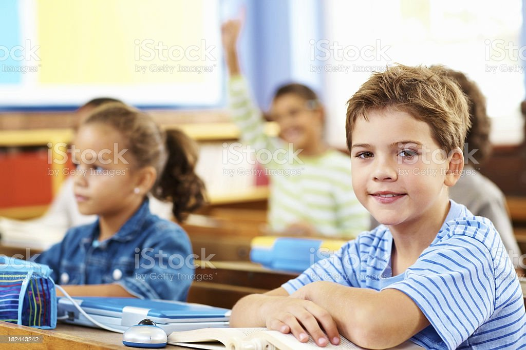 Happy small boy during a class at school royalty-free stock photo