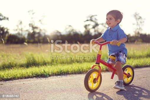 istock happy small boy on walking bike 618065742