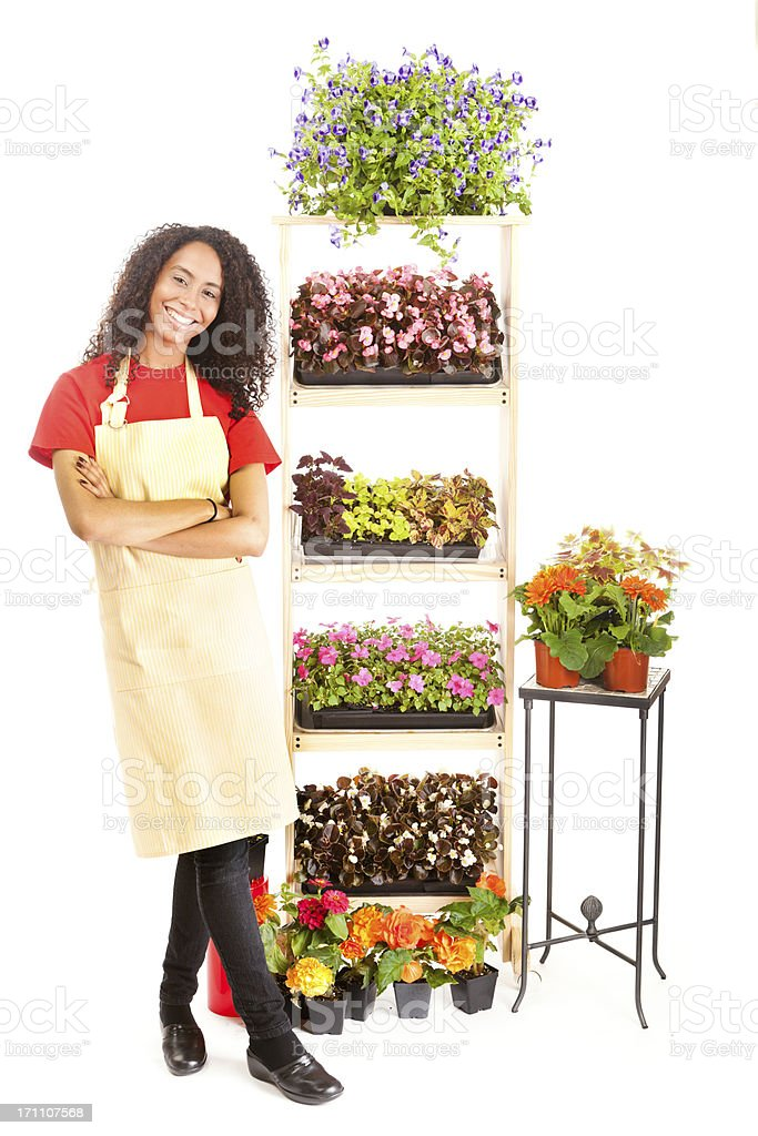 Happy Small Business Garden Center Flower Shop Owner on White royalty-free stock photo