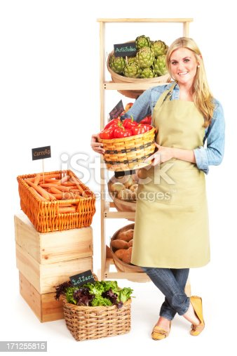 istock Happy Small Business Local Grocery Store Owner on White Background 171255815