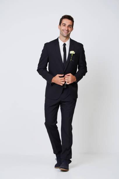 happy smart groom - tuxedo stock photos and pictures