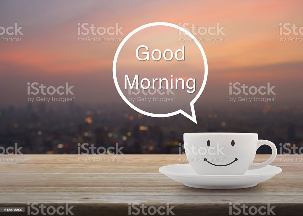 Happy Smile Coffee Cup On Table Good Morning Massage Concept Stock