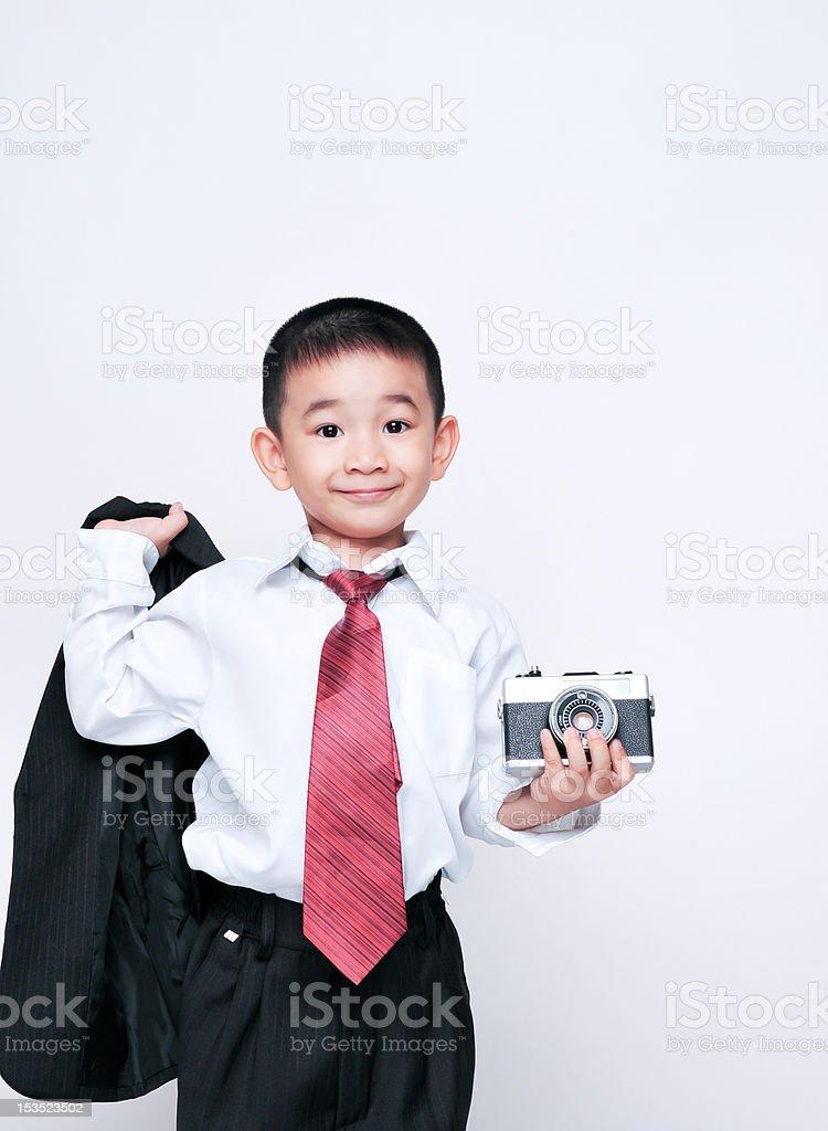 happy smile  kid  with photo camera royalty-free stock photo