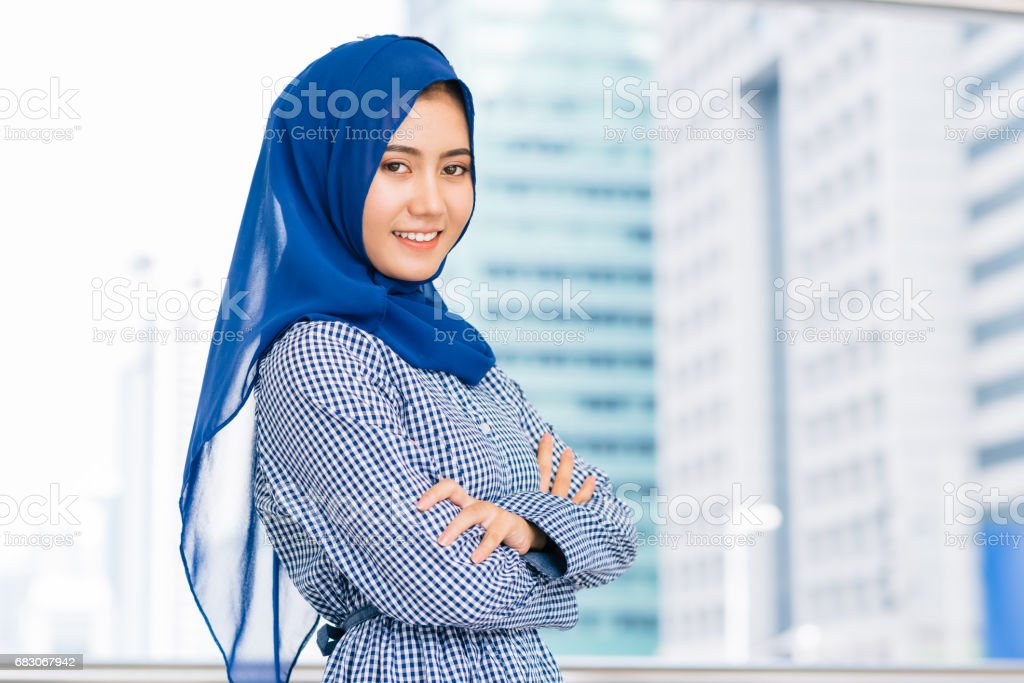 happy smile muslim Asian woman stock photo