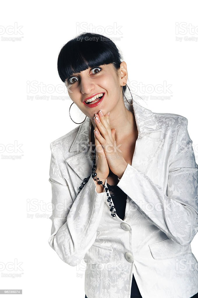 happy smile woman on a white with wide opened eyes royalty-free stock photo